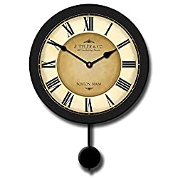 Galway Black Pendulum Wall Clock, Available in 5 sizes, Whisper Quiet, non-ticking