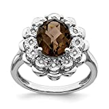 925 Sterling Silver Diamond and Oval Smoky Quartz Ring Size-7