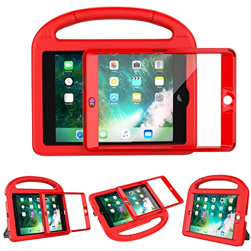 LEDNICEKER Kids Case Built-in Screen Protector for iPad Mini 1 2 3 - Shockproof Handle Kidproof Friendly Foldable Stand Child Case for iPad Mini 1st 2nd 3rd Generation - Red