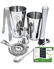 Boston Shaker by Uplifebrothers: 7 Piece Cocktail Shaker Set with Hawthorne Strainer, Jigger, Bar Spoon, Muddler and Ice Tongs - 304 Stainless Steel Professional Bartender Kit with Recipes