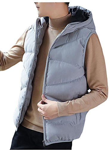 UK Winter Vest Jacket Warm Padded Down Vest Mens Hooded Zip Grey today Full dwqFCXd