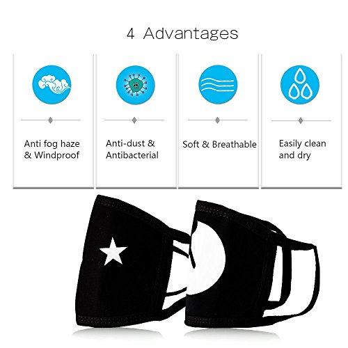 Muffle Mask Anti-Dust Anime Mouth Mask Cute Kaomoji Face Emoticon Earloop Cotton Surgical Mask for Kids Men and Women (Black 5) by QIN JU (Image #3)