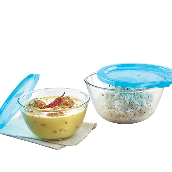 Borosil   Glass Mixing Bowl with lid   Set of 2, 500 ml+1.3 L, Oven and Microwave Safe Mixing Bowls