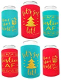 funny beer cooler - Holiday Festive Can Coolers - 6 Pack | Let's Get Lit Christmas Stocking Stuffer Gifts | Funny Ugly Xmas Sweater Party Prize, Decor, Novelty Favors, Decorations, Supplies for Beer, Drink, Bottle