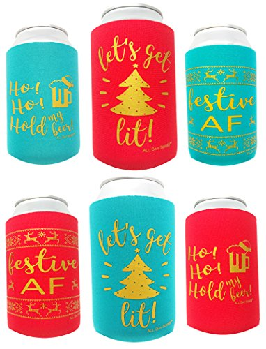Holiday Festive Can Coolers - 6 Pack | Let's Get Lit Christmas Stocking Stuffer Gifts | Funny Ugly Sweater Party Prize, Favors, Decorations, Supplies, Drink, Beer, Bottle, Dad, Him -