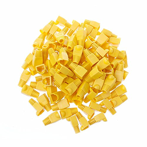 45 Boots Snagless Cat6 Cable - GFORTUN 100pcs RJ45 Cat6 Cat5E Ethernet Cable Snagless End Boots Cap Connector Cover Modular (Yellow)