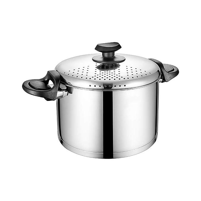 Olla de Sopa 304 de Acero Inoxidable Una Olla Cubierta de la Olla de Drenaje Multiusos Cocina de Gas Sopa de Leche de hogar Universal: Amazon.es: Hogar