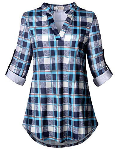 Viracy Oversize Tops for Women, Ladies Mandarin Collar Rolled Up 3/4 Sleeve Tunics Feminine Buffalo Plaid Shirt Roomy Casual Extra Large Blouses Retro Style Tartan Outfit Blue 3XL (Clothing Designer Retro)