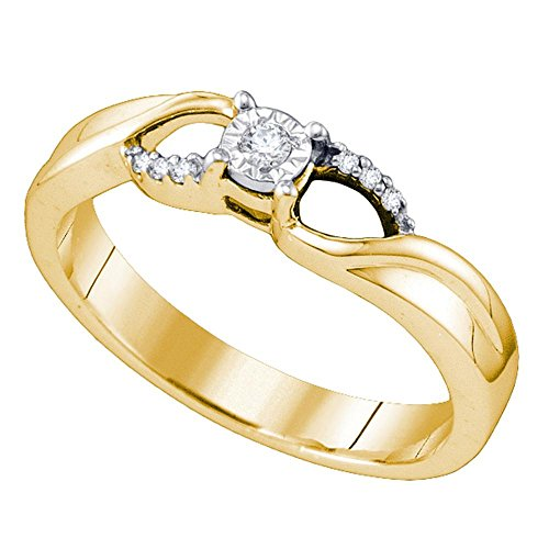 Sterling Silver Womens Round Natural Diamond Band Promise Bridal Engagement Ring (.50 cttw.) (I2-I3) by Mia Diamonds and Co.