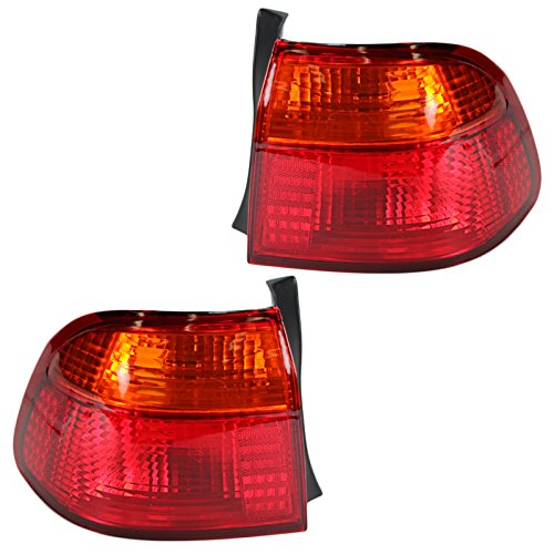 Rear Brake Light Taillight Lamp Pair Set of 2 Red/Amber for 99-00 Civic 4DR 00 Honda Civic 4dr Tail