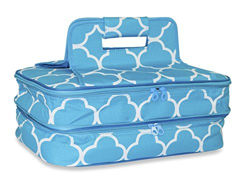 Ever Moda Thermal Insulated Casserole Carrier Bag with 2 Compartments, Moroccan Teal Blue White
