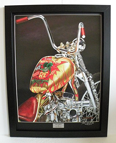 Limited Edition Custom Framed Indian Larry Rat Fink Daddy-O Motorcycle Art Print, 18x24 Signed & Numbered Wall Art w/Certificate - Original Painting by John Guillemette