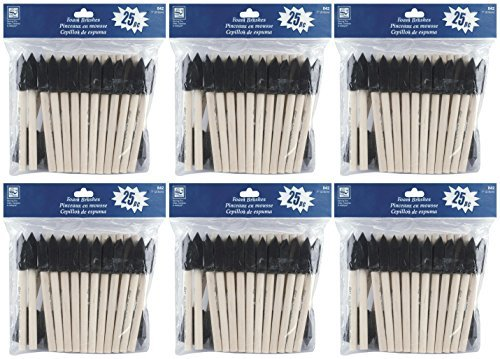 6-Pack - Loew Cornell 842, 25-Piece Foam Brush Set, 1-Inch - (Total of 150 brushes) by Loew-Cornell