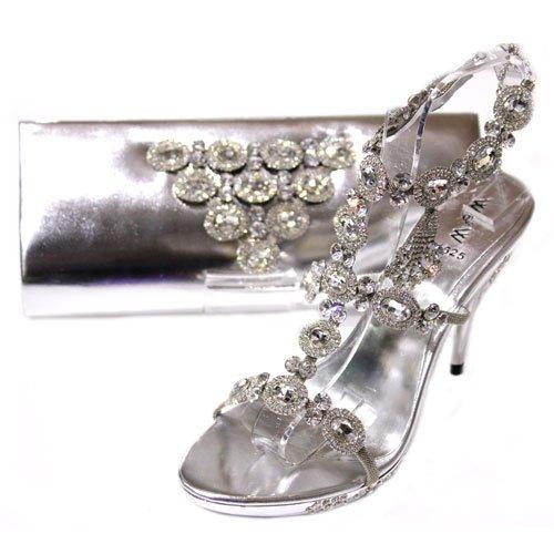 Wear & Walk UK - Cartera de mano para mujer Plateado plata IVXyzXG