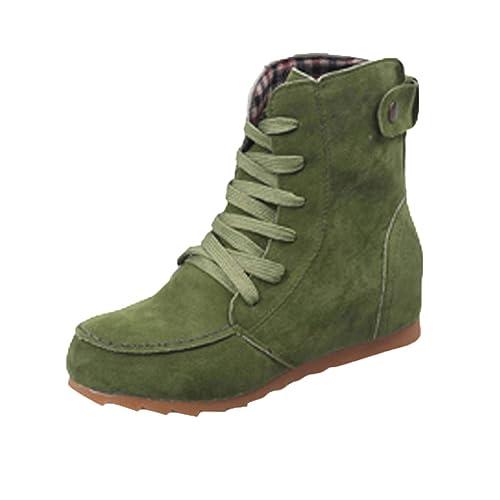 Botas De Moto De Nieve con Tobillo Plano para Mujer OHQ Botas Bota De Cordones De Gamuza Femenina con Cordones De Cuero: Amazon.es: Zapatos y complementos