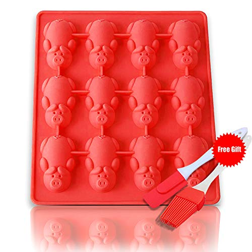 12 Little Pigs in a Blanket Silicone Baking Mold, Silicone Muffin Pan Silicone Cupcake Baking Cups, Non Stick Silicone Molds for Muffin Tins(Red)