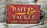 Little Herring Pond Massachusetts, Bait and Tackle Lake House Sign - Custom Lake Name Distressed Wooden Sign - 33 x 60 Inches