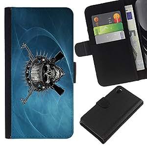 KingStore / Leather Etui en cuir / Sony Xperia Z3 D6603 / Cráneo malvado y armas de metal