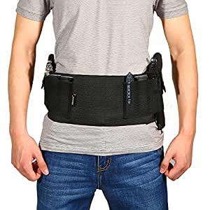 Yosoo Belly Band Holster for Concealed Carry Elastic Waist Band Hand Gun Holder with Magazine Pounch for Men Women, Fits Glock, Revolvers, Pistol, Ruger