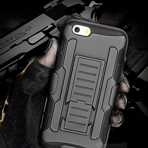 iPhone 6S / 6 Case, Cocomii Robot Armor NEW [Heavy Duty] Premium Belt Clip Holster Kickstand Shockproof Hard Bumper Shell [Military Defender] Full Body Dual Layer Rugged Cover Apple (Black)
