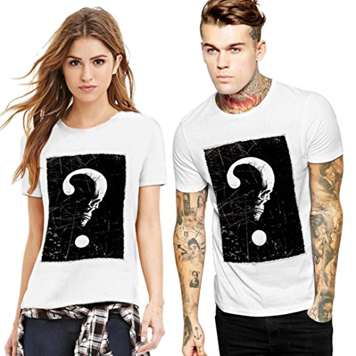 Clearance! Men's Summer Octopus Printing Tees Shirt Short Sleeve Lovers Couples Blouse Tops (White (?)_ Men, L)