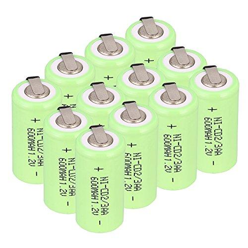 WINDMAX Green 12PCS 1.2V 2/3AA 600Mah Ni-CD Rechargable Batteries
