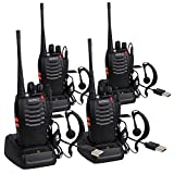 ESYNIC 4 Pcs Long Range Walkie Talkies Two Way Radio UHF 400-470MHz Walky Talky With Earpieces Flashlight 16CH Single Band FM Handheld Transceiver USB Cable Charging