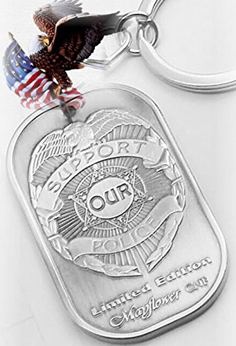 Mayflower CNF Tag - Support Our Police Tag with Key Train - Comfortable Weight and Size for Your Wallet, Pocket, Car Key .etc - Collectible