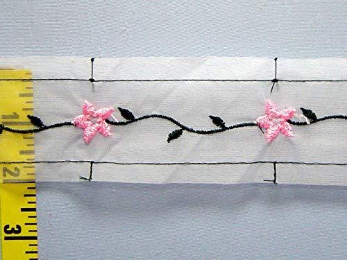 (Insertion Lace Trim Embroidered Organza Floral 2 yds White Pink Dark)