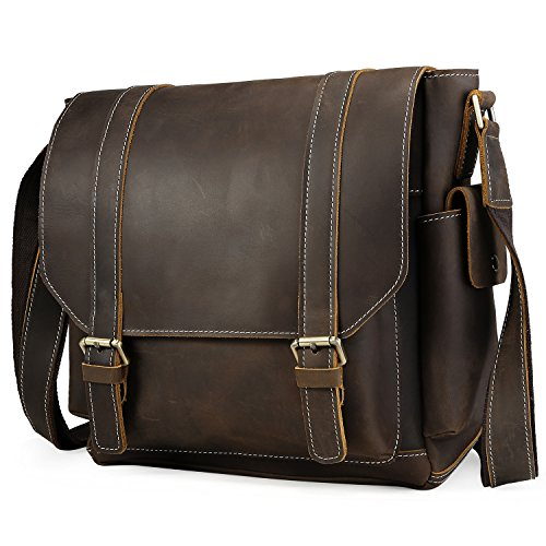 Iswee Leather Crossbody Shoulder Bag Small Messenger Satchel Bag Work Business Travel Bag for Men (Dark Brown) by Iswee (Image #1)