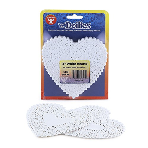 Hygloss Products Heart Paper Doilies – 4 Inch White Lace Doily for Decorations, Crafts, Parties, 100 Pack by Hygloss