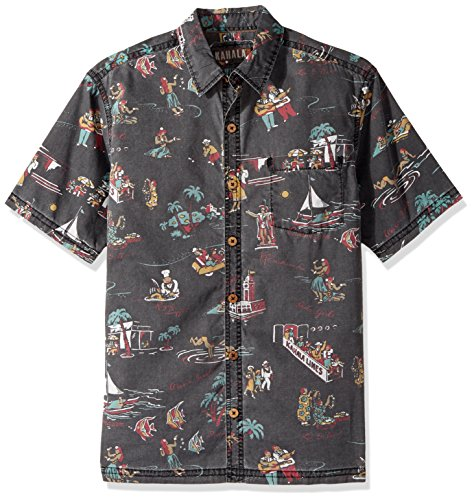 Kahala Men's Waikiki Beach Relaxed Fit Hawaiian Shirt, Black, - Hawaii Kahala Map