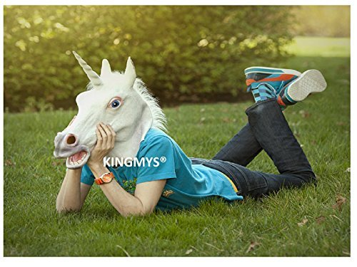 (KINGMYS®Latex Unicorn Head Mask (Unicorn)