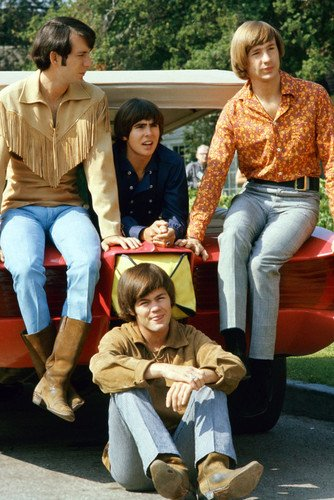 The Monkees Davy Jones Mickey Dolenz Peter Tork Group By Car Pose Poster