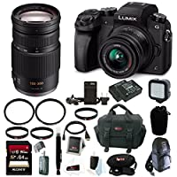 Panasonic LUMIX G7 Camera Kit (Black) with 14-42mm and 100-300mm Lens Bundle