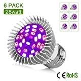 [Pack of 6] Dr. Easy Life grow light 28W led grow lights bulb full spectrum E27 grow plant light for hydropoics greenhouse organic (28W 6-Pack) Review