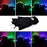 Hndtek Deluxe Large Size LED Black 6 Light Flashing Modes Gloves , For Clubbing, Rave, Birthday, Electronic dance , Disco, and Dubstep Party, Unisex Gloves,(2,Black)