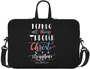InterestPrint Bible Verse Philippians 4_13 I Can Do All Things Through Christ Laptop Sleeve Shoulder Bag with Handle & Strap, Notebook Computer Carrying Bag 15 15.6 Inch for MacBook Dell HP Woman Man