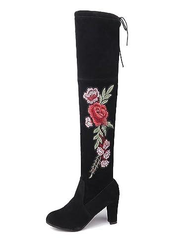 Minetom Femme Sexy Chaud Bottes Hautes au Genou Chaussures Hiver Boots  Simple Élégant Mode Broderie Fleurs