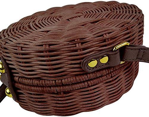 PROKTH spiaggia borse da spalla donna retrò borsa tonda intrecciata fatta a mano in rattan lavorata a maglia borse tracolla mano per donna