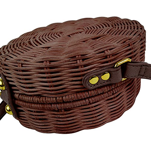 Vintage de a Mensajero Ratán Bolso de Paja Hombro Lady Retro de Biback Mano Bolsa Playa Verano Chocolate Elegante Color Tejido Bolso de qFOgA