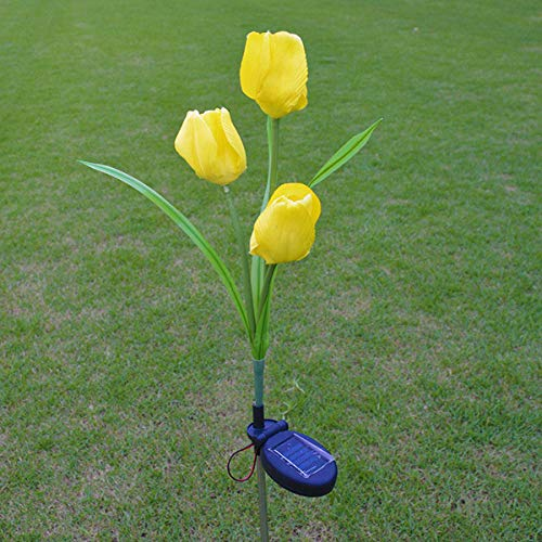 Solar Outdoor Stake Lights - Solar Flower Stake Lights - 2V Solar Power Mult Tulip Flower Garden Stake Landscape Lamp Outdoor Yard LED for Home - Yellow (Flower Led Lights)
