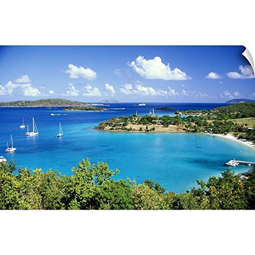 CANVAS ON DEMAND Aerial View of St. John Wall Peel Art Print, 24
