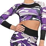 Sunhusing Ladies Camouflage Print Fitness Running Short Shirt Cozy Round Neck Long Sleeve Tight Yoga Tops