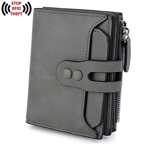 UTO RFID Wallet for Women PU Matte Leather Blocking Tech Wallet Card Holder Organizer Girls Coin Purse with Snap Closure E Grey