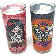 La Muerte Day of the Dead Set of 2 Coco Candles, Diamonds & Dog