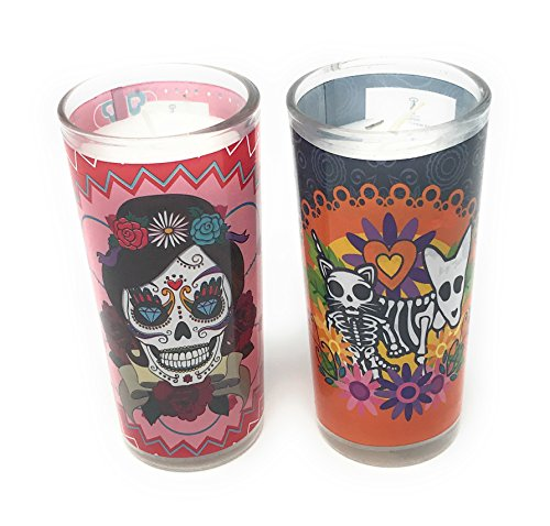 La Muerte Day of the Dead Set of 2 Coco Candles, Diamonds & Dog - Bath Williamsburg 2 Light