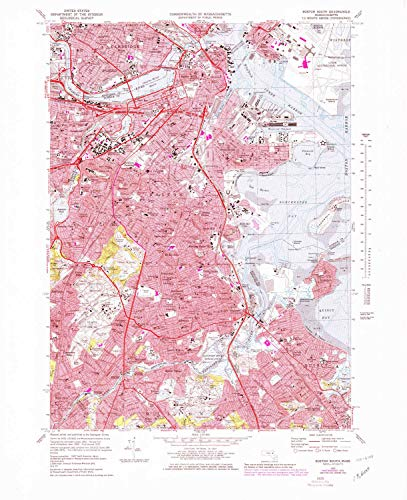 YellowMaps Boston South MA topo map, 1:25000 Scale, 7.5 X 7.5 Minute, Historical, 1970, Updated 1979, 27 x 22 in - Polypropylene