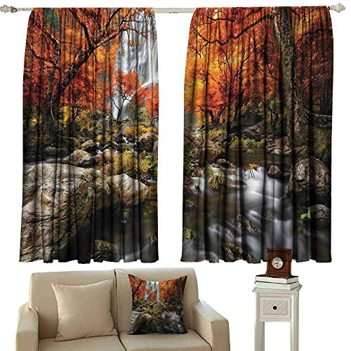 Tankcsard Blackout Draperies for Bedroom Jungle Forest Decor,Trees Decor Scenic Thai Waterfall and River Park in The Autumn 72