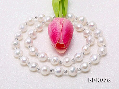 JYX Pearl Necklace for Women 11-12mm White Baroque Freshwater Cultured Pearl Necklace 24 with Czech Zircons